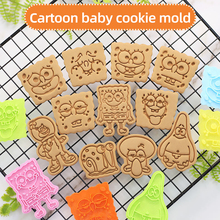 3d Cookie Cutters Plastic SpongeBobs Creative Cartoon Biscuit Mold Household Baking Diy Fondant Grinding Tool Press Baking Mold