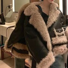 Fur Coat Women Jackets Composite-Fur Lamb Wool Winter New Thick And Autumn Blended Locomotive-Style