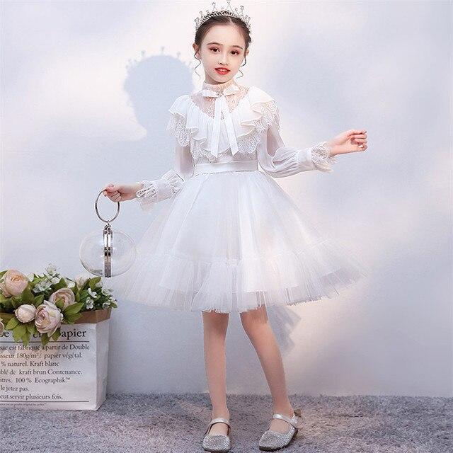 Детское платье принцессы для выпускного вечера, белое однотонное платье с длинным рукавом, на осень и зиму, 2019