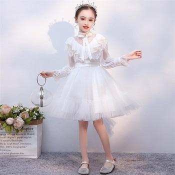 2019Autumn Winter Luxury Children Girls Solid White Long Sleeves Birthday Wedding Princess Prom Dress Kids Elegant Host Dresses