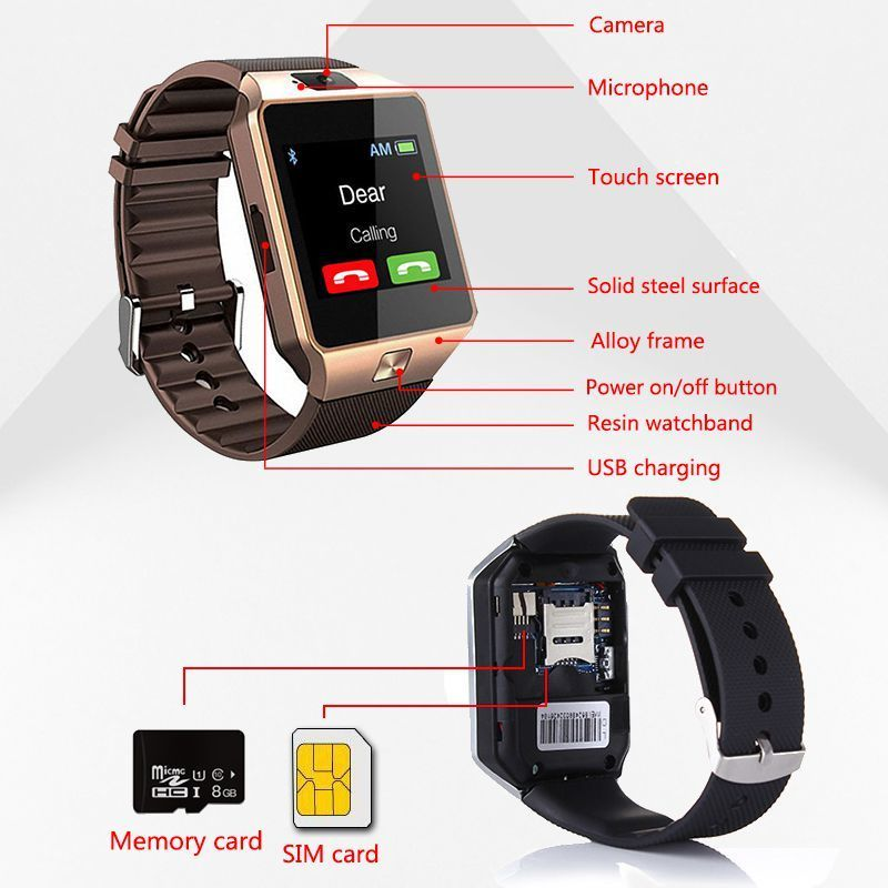 2019 Bluetooth DZ09 Smart Watch Relogio Android smartwatch phone fitness tracker reloj Smart Watches subwoofer women men dz 09