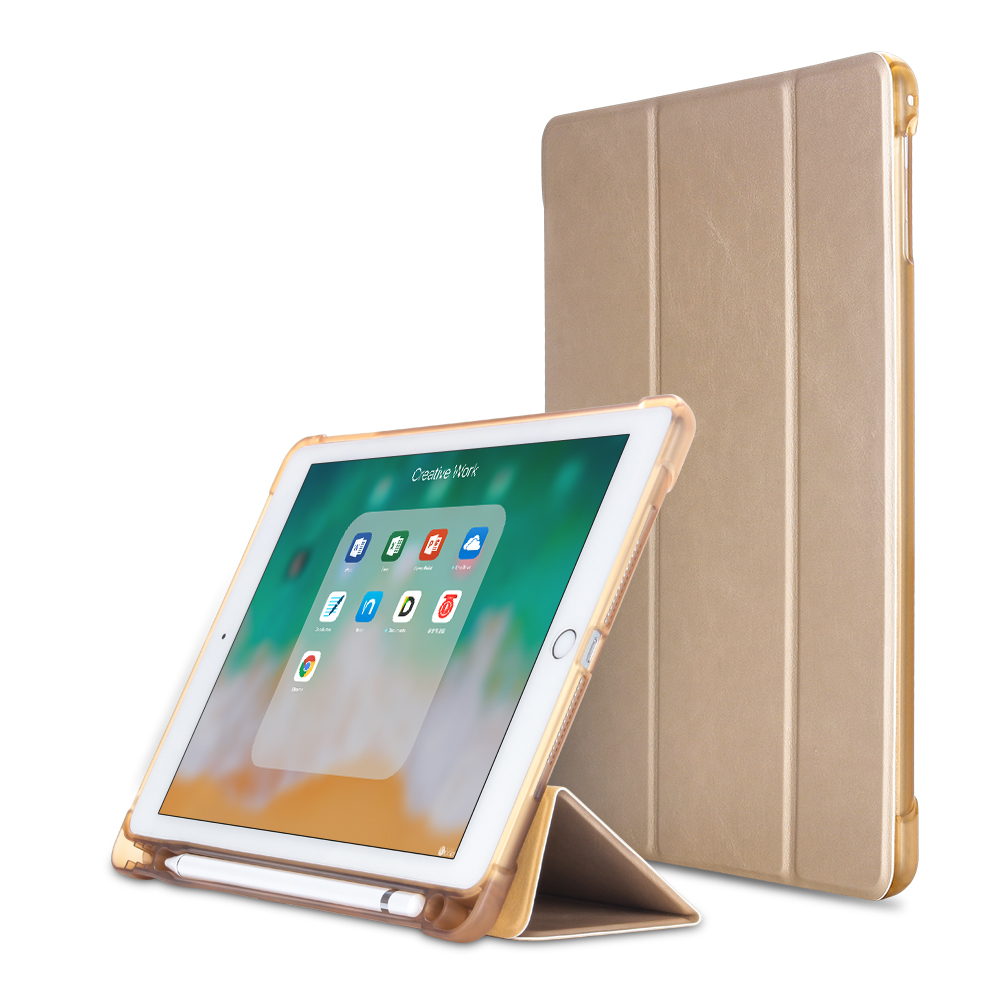 Gold Gold For iPad 10 2 inch 7th Gen 2019 A2198 Case With Pencil Holder Slim Tri fold