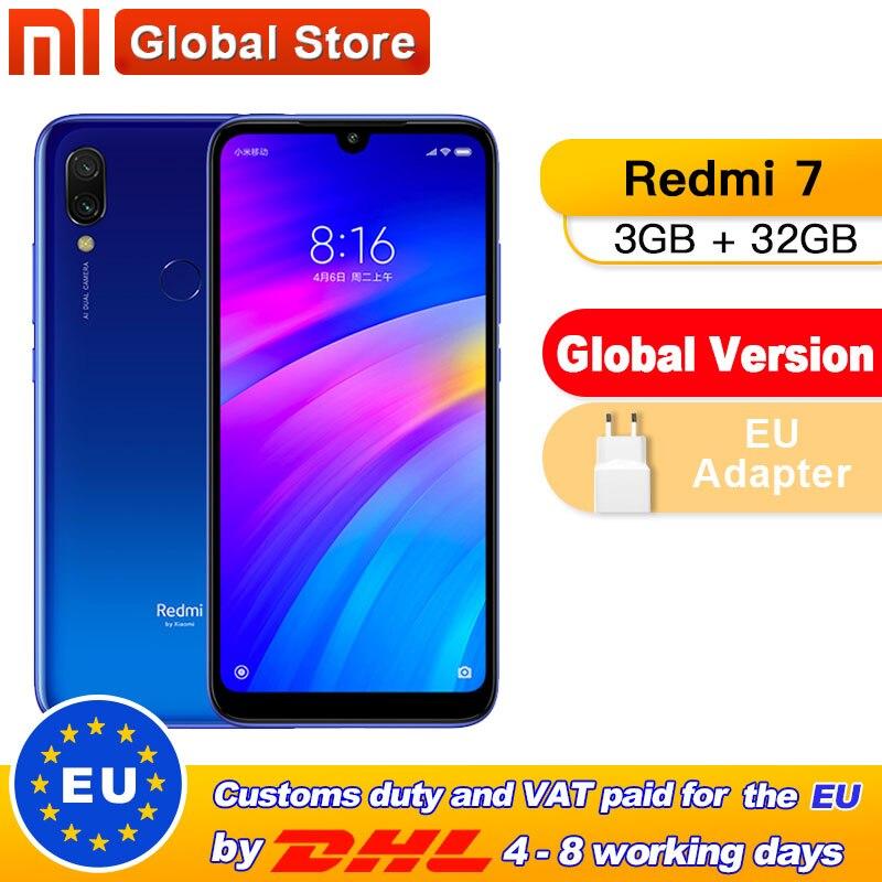 Global Version Xiaomi Redmi 7 3GB 32GB RAM ROM  Phone Snapdragon Qualcomm 632  Mobile Phone Octa Core 4000mAh 12MP  6.26''