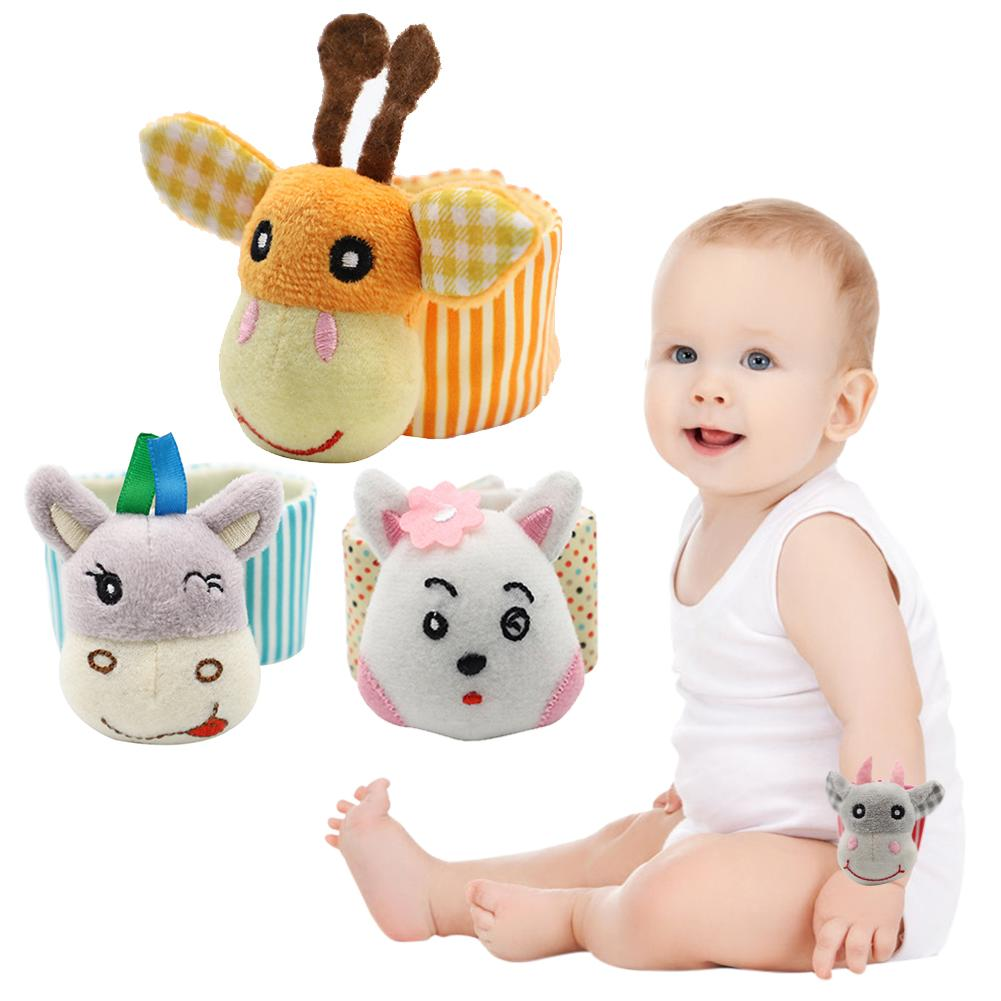 2PCS Baby Rattle Toy Wrist Band Animal Wristband Foot Rattles Infant Plush Toy Wrist Stripe Foot Ring Socks Gifts