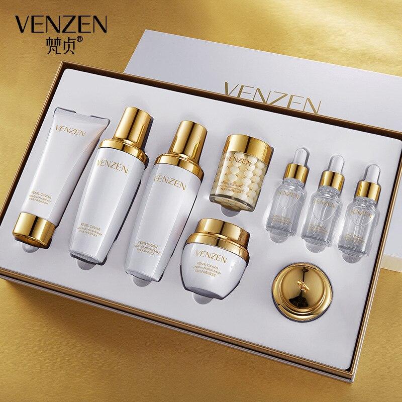 Venzen pearl caviar luxury nine piece moisturizing set box refreshing oil control moisturizing skin care set