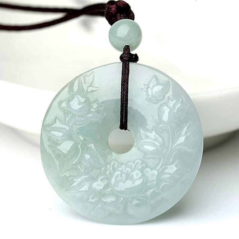 Lucky Phoenix Peony Flower Black Green Jade Gem Amulet Pendant