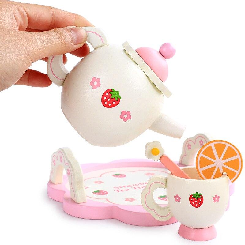 Juego de cocina para niños, juguete de utensilios para niñas, regalos, juego de té blanco de la tarde, simulación, vajilla de cocina casera