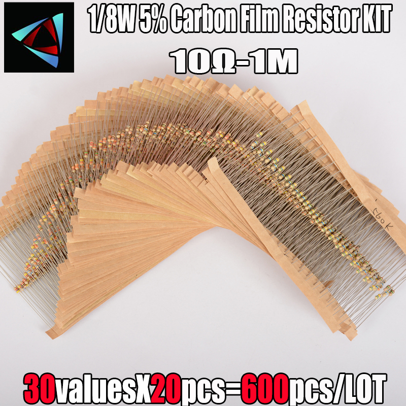 600 pçs/set 30 tipos 1/8w resistência 5% 0.125 pacote de filme carbono resistor sortidas kit 1k 10k 100k 220ohm 1m resistores