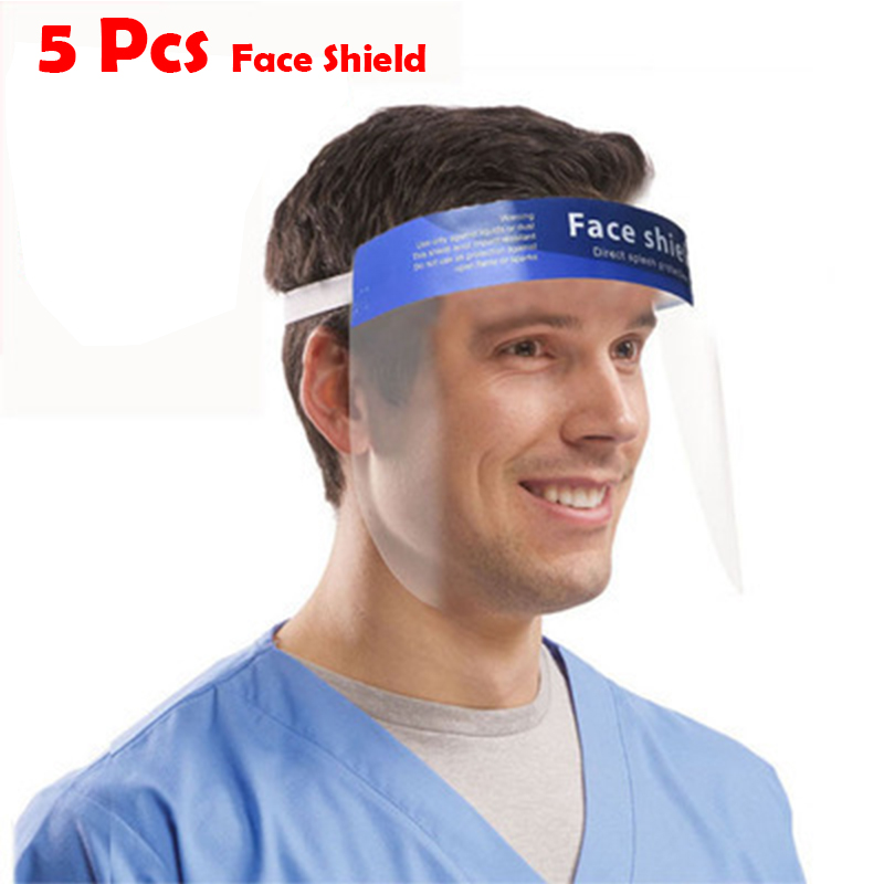 5 Pcs Professional Dental Dental Face Shield For Dentist Dental Protective Detachable Adjustable Visor Films Anti-Fog Dustproof