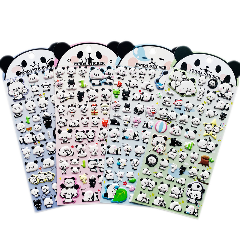 1 Sheet Kawaii Cartoon Panda 3D DIY Stickers Decorative Scrapbooking Diary Album Stick Label Hand Account Decor Stationery