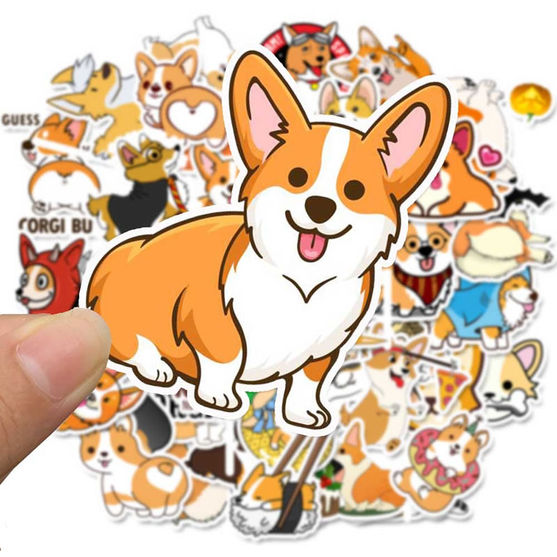 Kawaii Animal Dogs Corgis Vsco Girl Waterproof Stickers Skateboard Suitcase Motorcycle Children Funny Graffiti Stickers Kid Toy