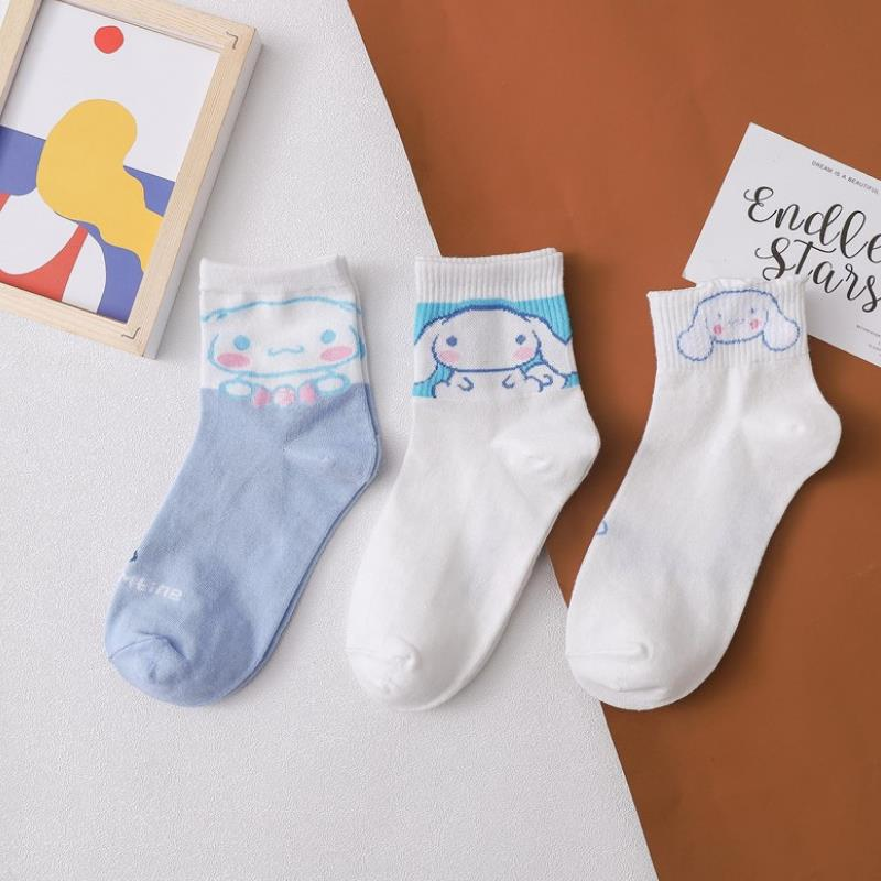 1pair Cartoon Cinnamoroll Little Twin Stars My Melody Pudding Dog Cotton Summer Socks For Girls Gifts