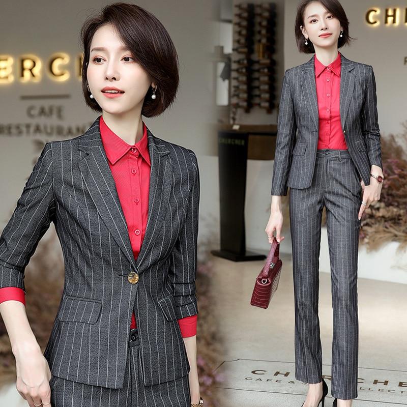 Womens Work 3 Piece Pants Suits for Women Black Grey Stripes Business Casual Outfits Female Blazer Shirt Trouser Korean Ol Suite