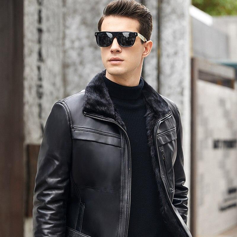 Genuine Leather Jacket Men Winter Jacket Natural Mink Fur Liner Sheepskin Coat Mens Jackets Plus Size Mink Fur Coat YN1268 YY620