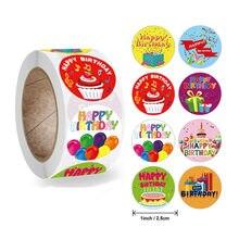 50-500 pièces 1 pouce joyeux anniversaire autocollant 8 conceptions pour fête cadeau paquet étanchéité étiquettes décoration papeterie bandes