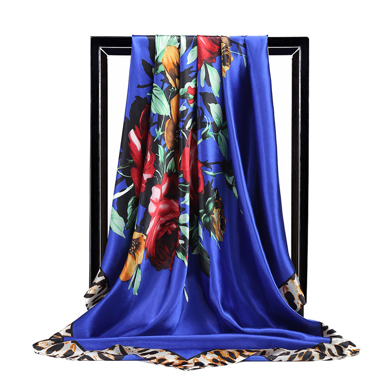 Spring Summer Colors Oil Flower Print <font><b>Silk</b></font> <font><b>Scarf</b></font> Women Large Satin Hijab <font><b>Scarves</b></font> Head Handkerchief Shawl Wraps <font><b>90x90</b></font> cm image
