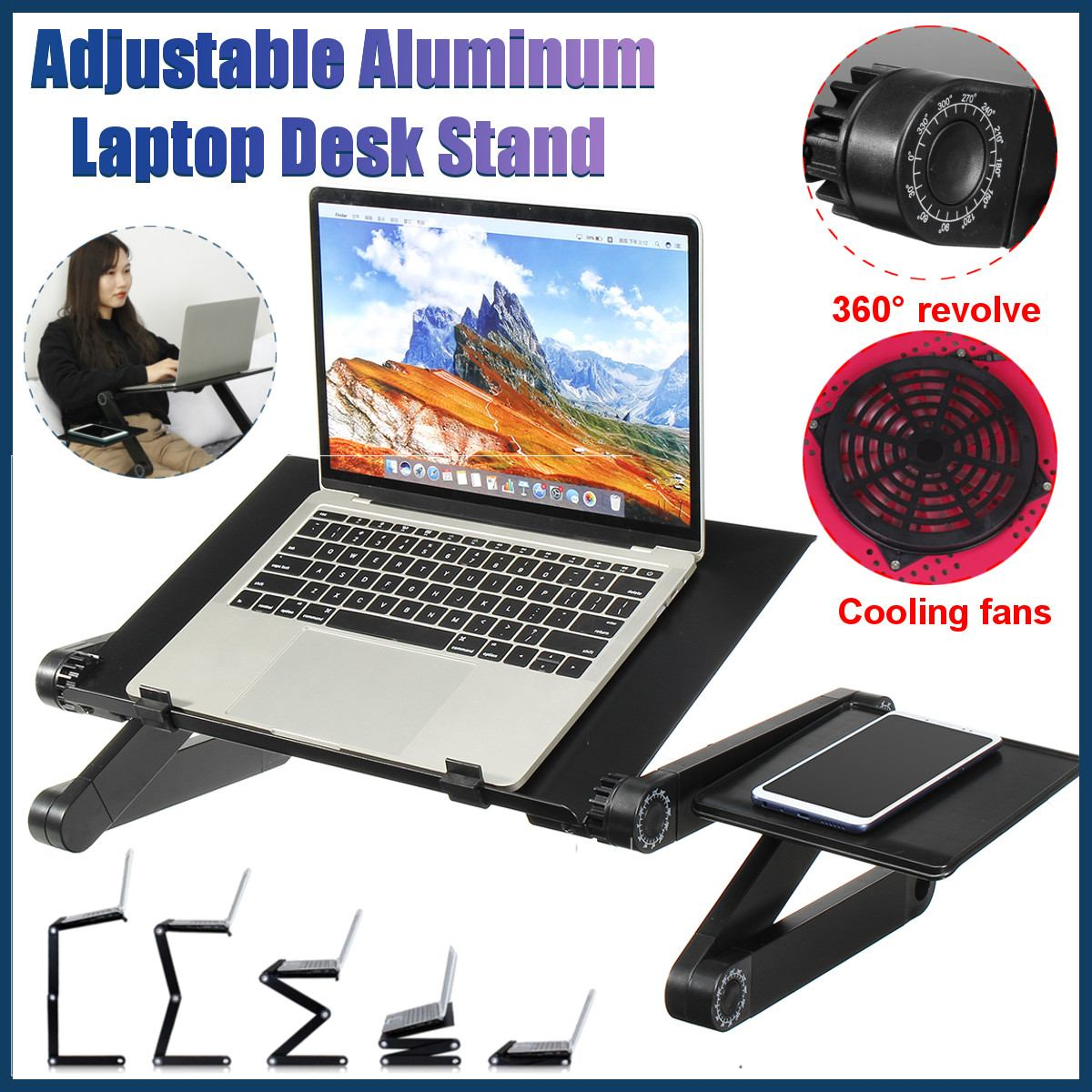 Portable Adjustable Aluminum Laptop Desk Stand Table Vented TV Bed Lap Stand Up Working Office PC Riser Bed Sofa Couch
