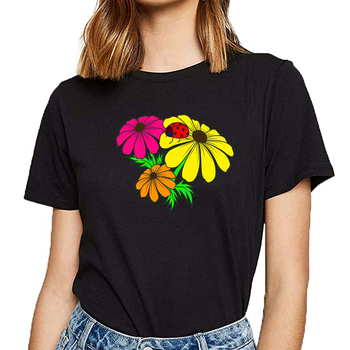 T gömlek Tops kadın lady bug çiçek Vogue Vintage kısa kadın Tshirt