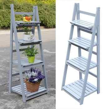 4 Tier Wooden Garden Home Flower Balcony Shelf Ladder Display Free Standing Folding Flower Shelf Dish Rack Flower Stand
