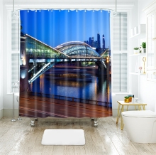 3d Night Scene of City Pattern Bridge Seascape Shower Curtains Waterproof Thickened Bath for Bathroom Customizable