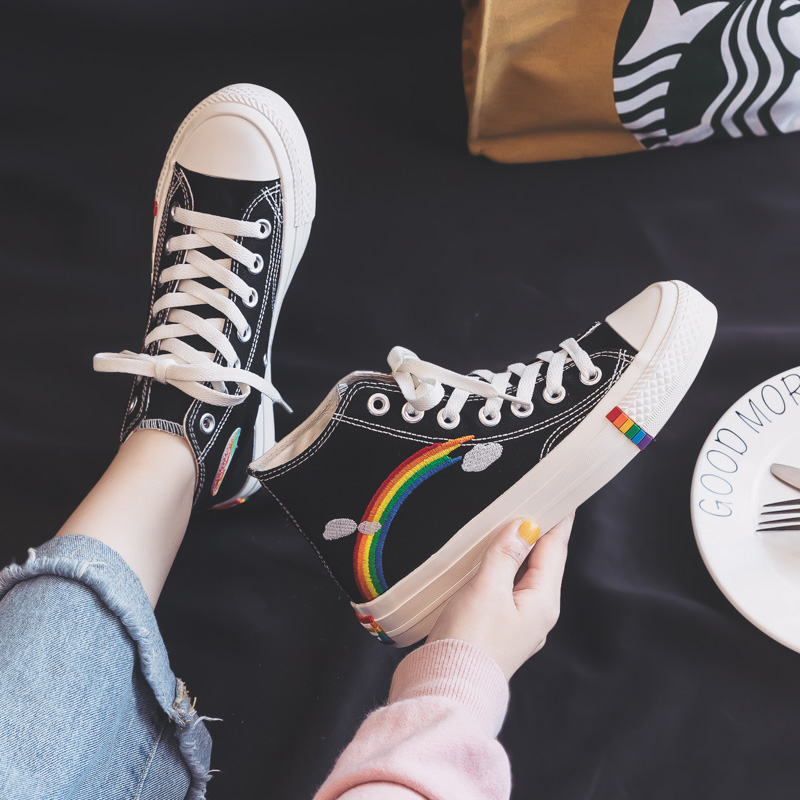 Women's Fashion 2020 Vulcanized Shoes Woman Sneakers New Rainbow Retro Canvas Shoes Flat Fashion Comfortable High Shoes Women 4