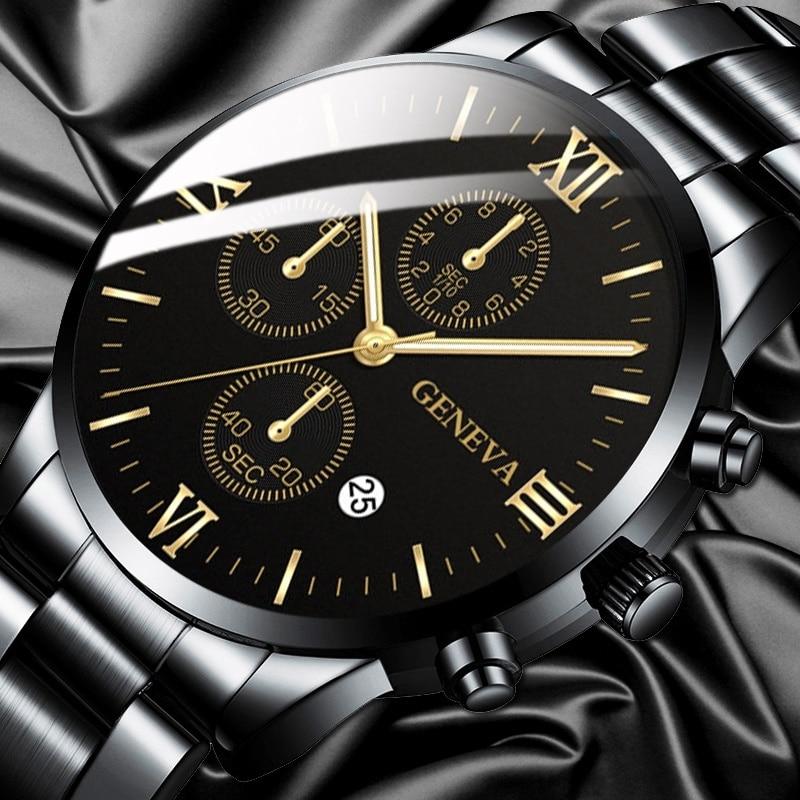 2020 Watch Men Fashion Business Watches Luxury Calendar Clock Man Stainless Steel Quartz Wrist Watch Reloj Hombre