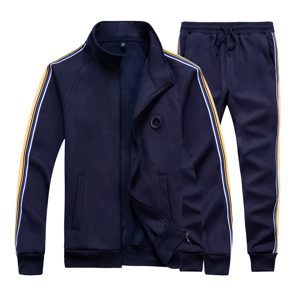 Casual Men Tracksuit Set Spring Two Piece Sets Cotton Fleece Thick Sweatshirt Jacket + Pants Sweat Suit Male Trainingspak Mannen