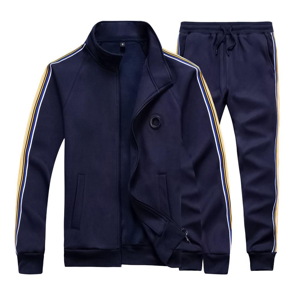 Casual Men Tracksuit Set Spring Two Piece Sets Cotton Fleece Thick Sweatshirt Jacket + Pants Sweat Suit Male Trainingspak Mannen