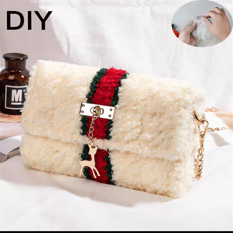 NEW DIY Funny Bags For Women 2020 Crossbody Bags For Women Designer Handbags Knitting Luxury Brand Bag Plush Chain Bag