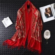 Winter Scarf Cashmere Shawls Bandana Glitter Hijab Tassel Floral-Embroidery Long Women
