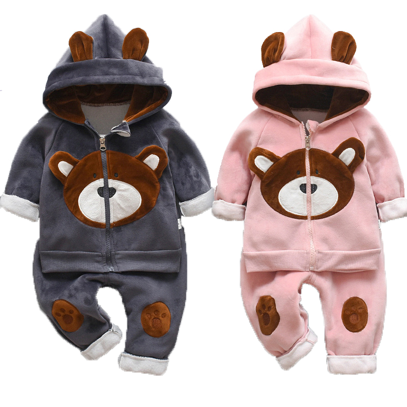 2019 Winter Baby Boys Clothing Sets Fashion Girls Warm Hooded Coats And Pants Suit Baby Thick Velvet Tracksuit Kids Clothes Set 1