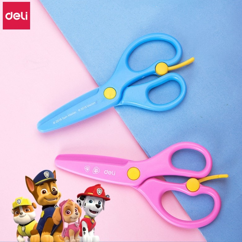 10pcs Deli Kids Safety Plastic Scissors Paw Patrol Craft Scissors School & Office Paper Cutting Tool Student Stationery Scissors