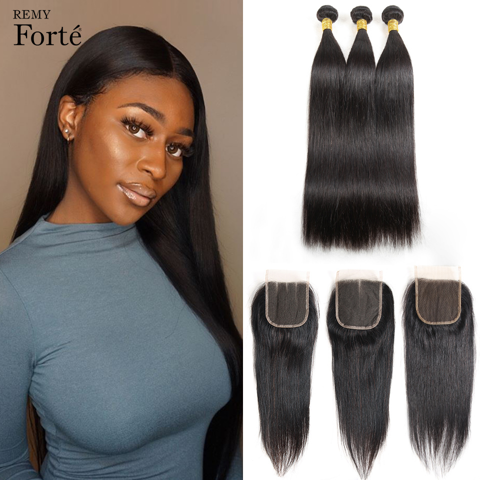 Remy Forte Straight Hair Bundles With Closure 8-30 Inch Remy Brazilian Hair Weave Bundles 3/4 Bundles With Closure Fast USA