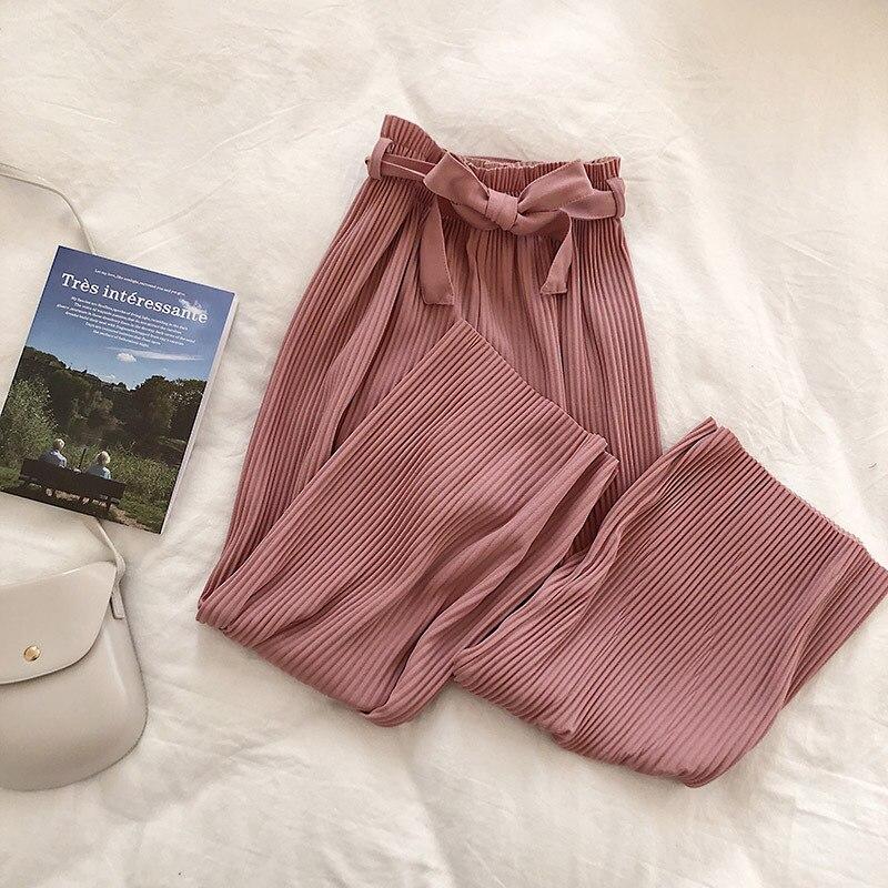Woherb Korean Autumn Wide Leg Pants Women Casual High Waist Pants with Bow Belt 2019 New