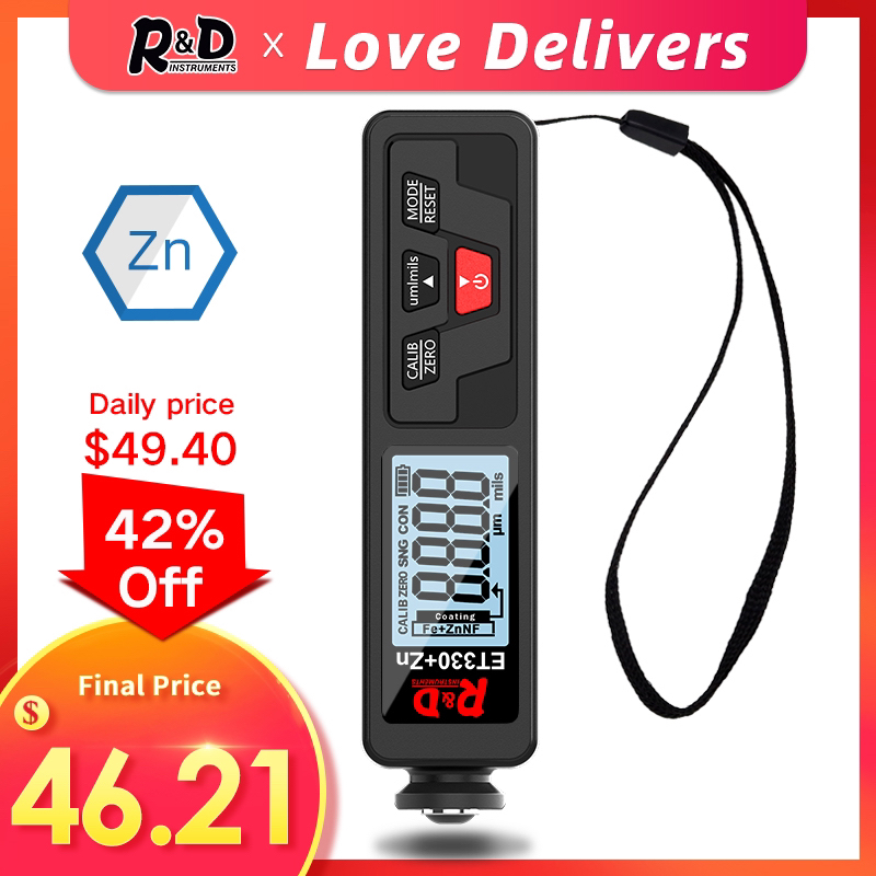 R amp D ET330 Coating Thickness Gauge Backlight 0-1500um Car Paint Thickness Gauge Film Tester FE NFE Paint Tool with Russian Manual