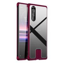 Schokbestendig Gevallen Voor Sony Xperia 5 Luxe Aluminium Metal Case Voor Sony Xperia 5 Dunne Hard Gehard Glas Cover Voor sony Xperia5