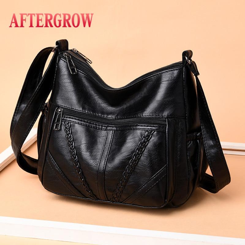 Cheap Black Women Messenger Bags Good Quality Very Soft Washed PU Leather Female Shoulder Bag For Mother Handbag Bolsa Feminina