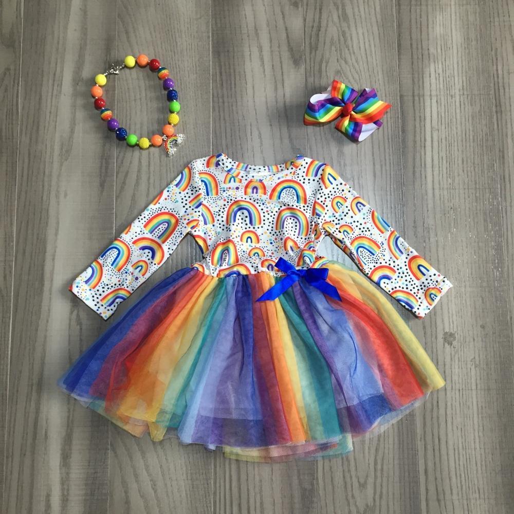 new Girlymax fall/winter baby girls cotton chlidren clothes rainbow tutu dress long sleeve ruffles knee length match accessories 1