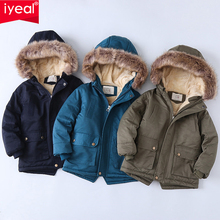 Kids Jacket Clothing Outerwear Hooded Winter Coat Fleece Coral Boys Children's Warm IYEAL