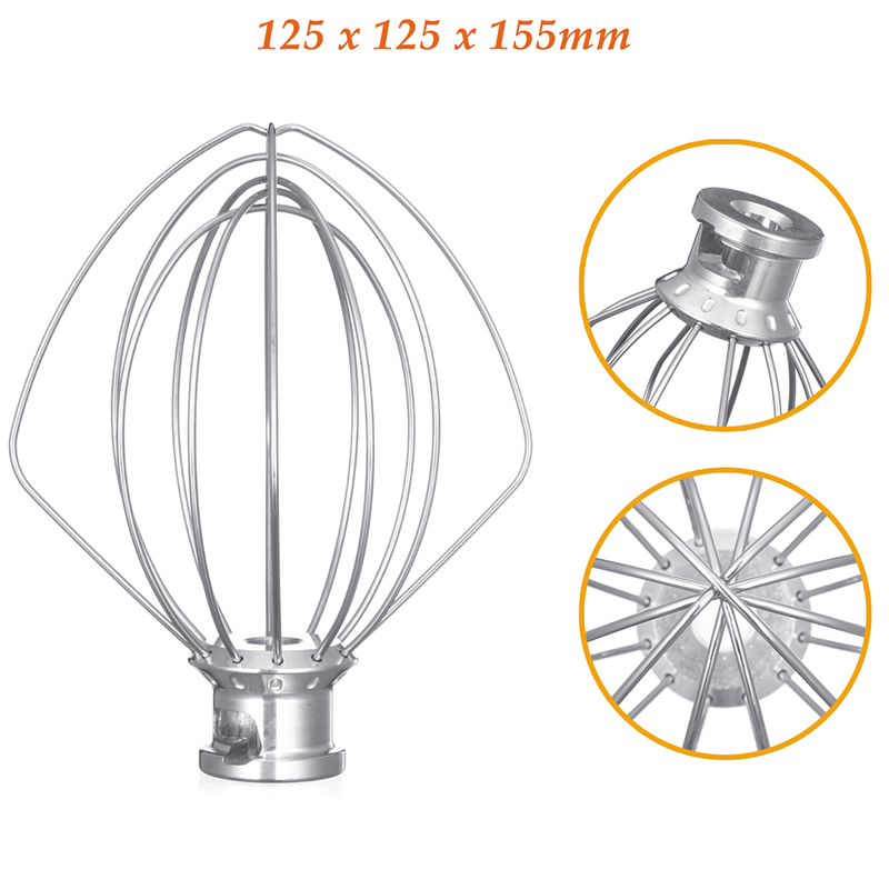 Stainless Steel Wire Whip Mixer Attachment for Kitchenaid K45Ww 9704329 Flour Cake Balloon Whisk Egg Cream Stirrer in Blenders from Home Appliances