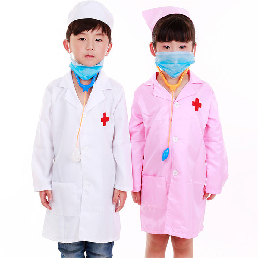Children Doctor Role Play Costume Dress-Up Set Nurse Cosplay Performance Medical Hospital Lab Jackets With Hat Work Uniforms