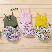 Verão nova roupa infantil europeu e americano sling macacão impressão terno roupas infantis
