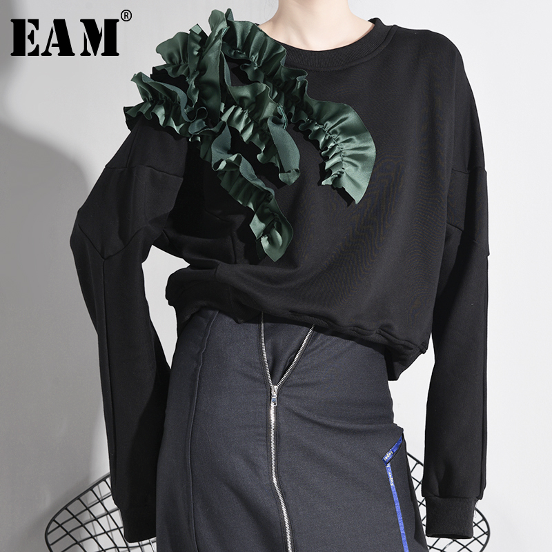 [EAM] Loose Fit Black Ruffles Three-dimensional Sweatshirt New Round Neck Long Sleeve Women Big Size Fashion Spring 2020 A883