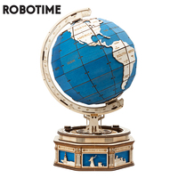 Robotime 567pcs Oversized DIY Rotatable 3D Globe Wooden Puzzle Game Assembly Toy Gift for Children Teens Adult ST002