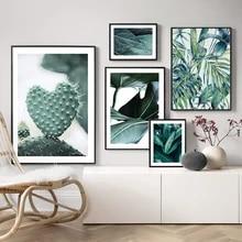 Folhas de palmeira arte da parede cactus pintura em tela monstera botânico posters e cópias planta parede fotos para sala estar decoração casa