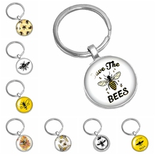 2019 New Hot Cartoon Cute Little Bee Pattern Series Glass Cabochon Keychain Fashion Jewelry Gift