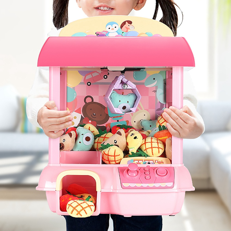 Kids Claw Machine Electronic Catch Doll DIY Doll Machine House Coin Operated Catcher Mini Vending Machine Gift For Children Toys