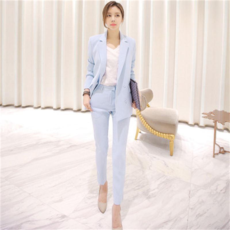 Fashion Suit Suit Female Spring New High Quality Sky Blue Casual Business Suit  + Pants OL Two-piece Suit Women Size XS-3XL