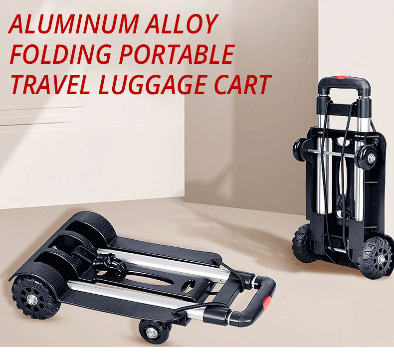 Aluminum Alloy Car Folding Luggage Cart Portable Travel Trailer Household Luggage Cart Shopping Trolley Quick Folding