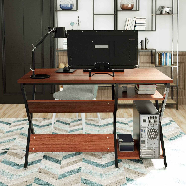 47inch Computer Desk Modern Rustic Desk With Storage Rack Wooden Office Desk For Home Studio Series Living Room Aliexpress